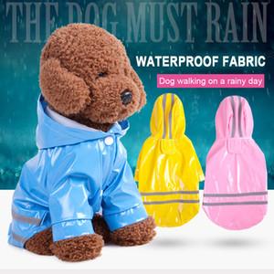 Pet Dog Raincoat PU Reflective Waterproof Clothes Hooded Jumpsuit Rainwear For Small Medium Dogs Teddy chihuahua
