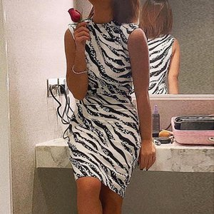 Ladies sleeveless zebra print tight-fitting dress half high neck high waist black and white striped contrast color one-step skirt
