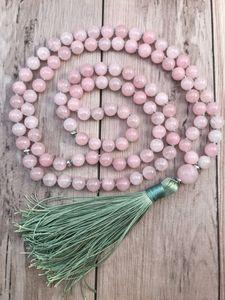 108 Mala Bead Necklace RoseQuartz Knotted Necklace Yoga Mala meditation Beads Mens Jewelry Prayer Necklaces Tassel Necklaces 201104