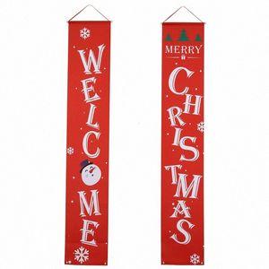 Bmby-Navidad Porche Signo Decoración Puerta Banner Home Colgando Adornos Navideños Decoraciones navideñas H0RX #
