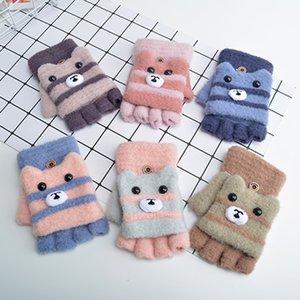Half Finger flip Gloves Winter new wool warm knitting cartoon Children's writing