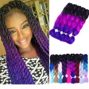 OMBRE три Две смесиные цвета Канекалон плетеные волосы синтетические джамбо косы наращивания волос 24 дюймов крючком косы волос оптом оптом цена