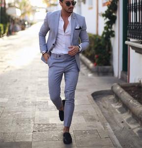 Trajes de esmoquin de esmoquin azul claro para la boda 2 piezas de negocios Traje de negocios Blazer Peaked Disfraz de solapa Homme Terno Trajes de fiesta (chaqueta + pantalón) 201013