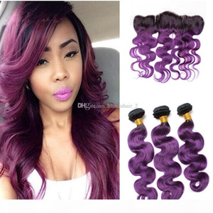 Purple Ombre Hair With Lace Frontal Closure Body Wave Human Brazilian Virgin Hair Bundles With 13*4 Lace Frontal Closure 4pcs lot
