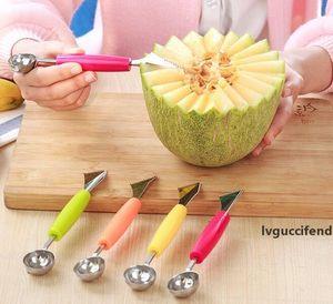 2in1 Dual-Head-Frucht-Kugel Tranchiermesser Kiwi Water Scoop Melon Digger Fruit Jar Kartoffelbrei Baller Eiscreme-Löffel