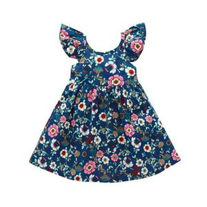 Girls Floral Dress Kids Ruffle Sling Dress Baby Girls Dresses Toddler Beach A-Line Dresses Adjustable Shoulder Strap 1-6T 060618