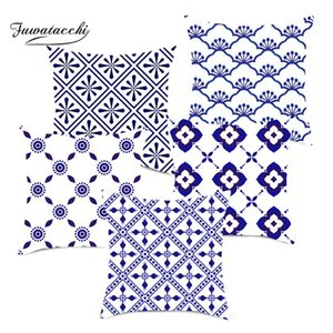 Fuwatacchi Blue Navy Geometric Cushion Cover Plaid Printed Pillows Cover Throw Pillowcase for Home Sofa Decorative Pillows 45*45