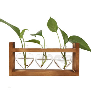 Wooden Frame Glass Vase Hydroponic Plant Vase Vintage Flower Pot Table Desktop Bonsai Heart Shape Home Decoration Vase