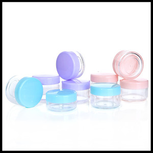 Creme Plastic Jar 10g Garrafas 15g 20g PS subpackage Cosmetic Limpar Frasco Com colorida Cap Amostra Jar teste