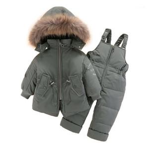 Olekid 2020 зимняя детская Snowsuit с капюшоном Baby Boy вниз куртка Пальто теплых комбинезон одежды набор 1-4 лет детская девочка малыш