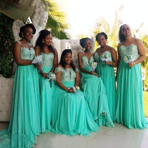 Mint Green Bridesmaid Dresses 2021 Boho Chiffon Lace Applique Off the Shoulder Sleeveless Maid of Honor Gown Plus Size African Wedding