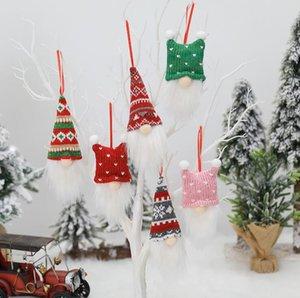 Christmas Tree Hanging Ornament Knitting Cartoon Santa Claus No Face Doll Christmas Pendant Home Xmas Party Decorations 3pcs set GWB2139