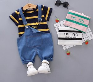 Summer new style children's wear Boys Cotton stripe T-shirt + handsome jeans pants short sleeve Shorts Set wholesale
