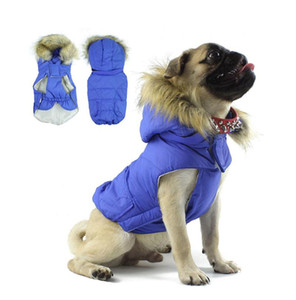 Wholesale Dog Product Winter Clothes Warn Cotton Padded Small Dog Outdoor Coat Jacket Detachable Plush Hat Clothes