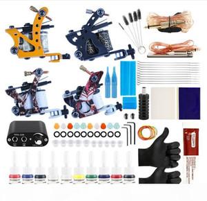 Professional Complete Tattoo Kit Tattoo Machine 4pcs Liner Shader 10 Color Immortal Ink Set Power Box Grip Tip