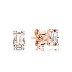 luxury designer jewelry EARRING 925 Sterling Silver for Pandora Sparkling Square Halo Stud Earrings with Original box sets