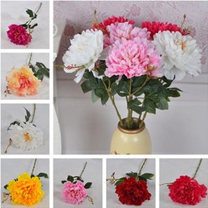 "10Pcs Fake Single Stem Peony 27.56"" Length Simulation Peonia full Open for Wedding Home Decorative Artificial Flowers"