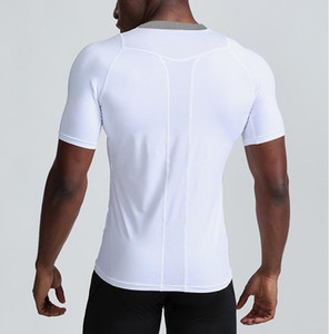 New Men's Gym quick-drying sports running breathable short-sleeved O-neck T-shirt outdoor training stretch t-shirts fitness tees S-XXL Black