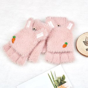 Ears Plush Gloves Candy Color Warm Knitted Soft Thicken Fingerless Gloves Knitted Fluff Outdoor Flip Cover