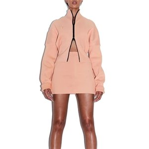 KGFIGU Women sets Winter batwing sleeve oversize Tops and skirts Casual pink rib tracksuits new design knit dress 201023