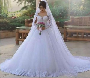 New Arabic Vintage Wedding Dresses Sheer Neck Beaded Lace Appliques Puffy Tulle Bridal Gowns Custom Made Plus Size Wedding Dress