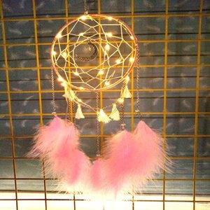 Dreamcatcher Wind Chime LED Luminoso Dream Catcher Moda Colgante Dormitorio Decoración de Navidad Regalo de cumpleaños Novedad Artículos FFE4687