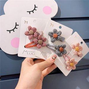 Plaid Cloth Cute Flower Children Hairclip Hair Clips Pin Barrette Accessories For Girls Kids Hair Ornament Hairgrip Headdress