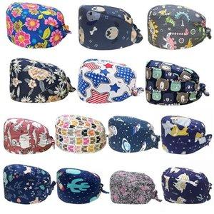 Beanie Skull Caps Cotton Scrub Cap Floral Animal Printed Sweatband Bouffant Hat 2XPD