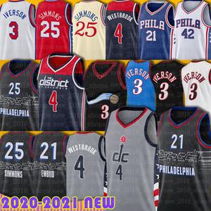 Simmons Ben 25 Russell 4 Joel Westbrook Jersey 21 Embiid Allen 3 Iverson Bradley 3 Beal Basketball Horford Erving Julius Jerseys Hombres Jóvenes