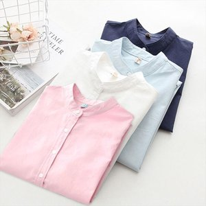 Women Long Sleeve Cotton Solid Casual Blouse Elegant Office Ladies Work Shirts 2020 New Spring Autumn Loose Top Plus Size