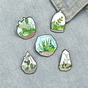 Creative Cartoon Green Plants Enamel Pins Green Cute Glass Cactus Seaweed For Friends Gift Lapel Pins Clothes Bags
