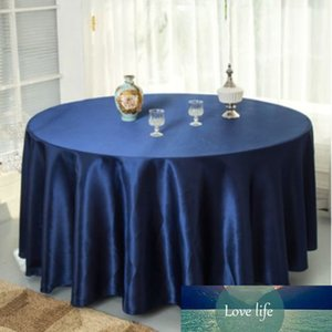 Fiesta de boda azul banquete pulgada 120 Decoraciones Tapa de mesa de satén para el restaurante Redondo azul marino Manteles 10pcs / Pack Slxwt