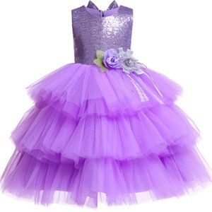Sequined Layered TuTu Girls Dress Floral Elegant backless kids dress for girls Princess Christmas Vestido birthday party