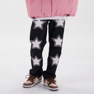 Вышивка Изношенных джинсы штаны мужчины и женщины Streetwear Омываются ретро случайная джинсовая брюки Hip Hop Повседневные мешковатые штаны