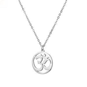 Buddhist AUM OM Yoga Necklace Pendant for Men Woman Silver Color Amulet OHM Necklaces Jewelry Chain 20Inch