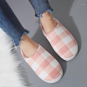 Zapatillas Mujeres Hombres Invierno Caliente Casual Casual Furry Slip en parejas Zapatos para interiores Piel de algodón simple Piel no plana Zapatillas1