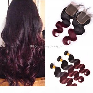 Peruvian Virgin Hair Body Wave With Closure T1B 99J# Burgundy Ombre Human Hair 3 Bundles With Closure Wine Red Virgin Hair With Closure
