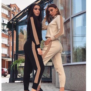 Der Frauen beiläufige Art und Weise Herbst Frühling Langärmlig Zweiteilige Jogger Set Damen Fall Anzug Sweat Suits Schwarz Plus Size S-XL ree Einkaufen