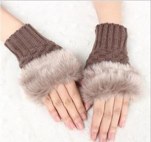 Wool Mixed Artificial Fur Ladies Fingerless Gloves Knitted Crochet Winter Gloves Warmer Evening Glov jllCKA dayupshop