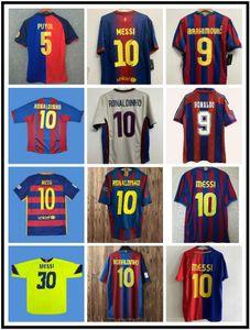 96 97 Guardiola Figo Retro Rondo Soccer Jerseys 08 09 Xavi A.iniesta Camisa de futebol clássico 10 11 Pique Ibrahimovic Maillot de pé