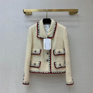 European and American women's wear 2020 winter new style Long sleeve lapel single breasted fashion Fine button tweed coat