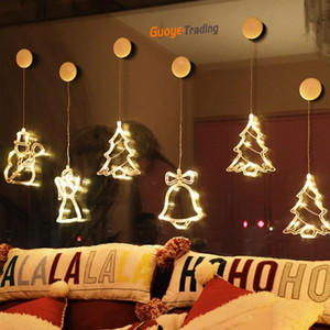 led christmas lights christmas bells Suction lamp room window christmas tree decoration lights five-pointed star Suction lamp Merry Chrismas