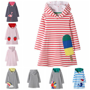 Baby Designer Clothes Flamingo Appliqued Princess Dresses Cotton Long Sleeve Girl Outfits Striped Children Hooded Dress 6 Designs BT4378