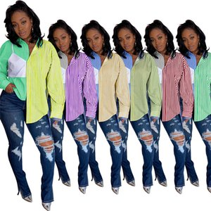 womens long sleeve blouses shirts jacket fashion brand shirt comfortable breathable T-shirts brand shirt stripe print tee tops very hot 5438