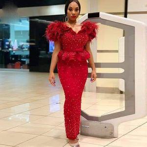 Aso Ebi Style Beading Mermaid Evening Dress Plus Size Off the Shoulder Ruffled Feather Formal Prom Dresses Turkey robe de soiree