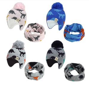 Children Knitted Caps Beanie Sets Dinosaur Knitted Baby Hat Scarf Set Cartoon Women Man Earmuff Caps Toddler Kids Hat with Pompom OWE2046