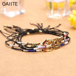 OAIITE Bohemia Jewelry Stainless Steel Miyuki Beads Charm Bracelets For Women Men Colorful Bead Handmade Braided Rope Bracelet1