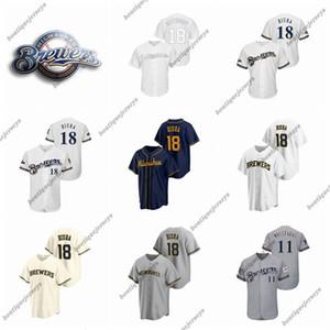 coutume Hommes Femmes Enfants MilwaukeeBrewers18 Hiura 18 Kestdadoy 11 Moustakas 19 Yount 8 Braun Baseball Mike Robin Keston Jerseys