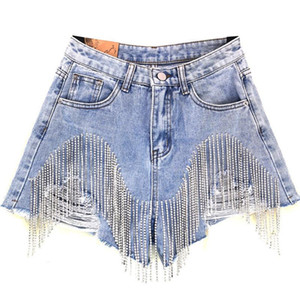 Kadın Lüks Püskül Rhinestone Fringed Delik Kot Şort Kadın Yüksek Bel 2020 Yaz Moda Tasarımcısı Geniş Bacak Kot Şort Z1205