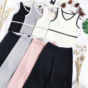 Summer New Knitted Tank Top High Waist Wide Leg Pants Suit Women Sleeveless V Neck Vest Crop Top Mid Calf Length Two